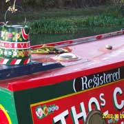 painted narrowboat on the Grand union canal